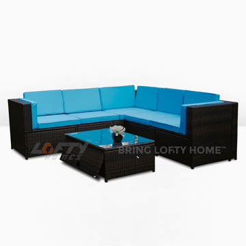 Picture of Paradise Blue Wicker Patio 6 Piece Set
