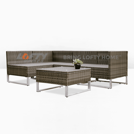 Picture of Natural Wicker Patio 5 Piece Set