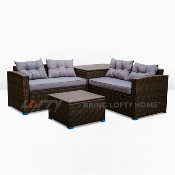 Picture of Dark Wood Wicker Patio 4 Piece Set