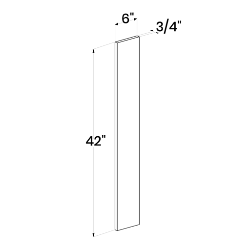 "Picture of White Shaker - Wall Filler 6""W, 42""H"