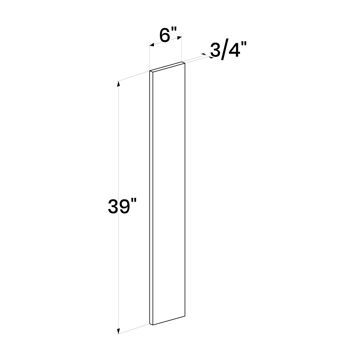 "Picture of White Shaker - Wall Filler 6""W, 39""H"