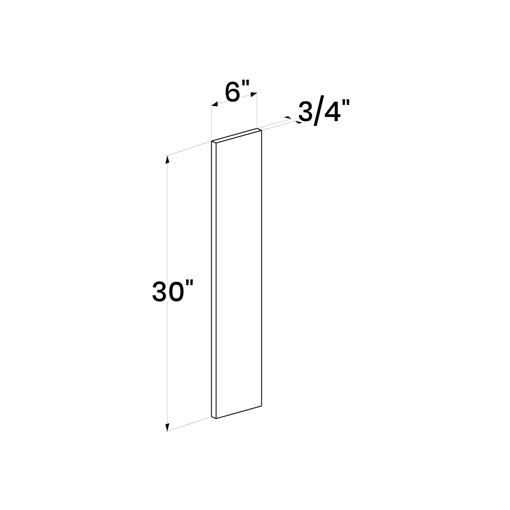 """Picture of White Shaker - Wall Filler 6""""W, 30""""H"""